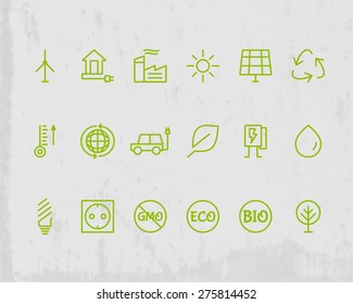 Green, Ecology and environmental protection outline icon set. Thin line design. Eco technologies. Isolated on grunge background. Vector illustration