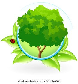 Green ecology icon with leaves and Tree for your design