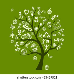Green ecology tree concept for your design