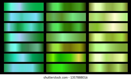 Green ecology vector gradients set. Glossy shiny nature green gradient colorful illustration gradation for backgrounds, banner, user interface, flyers, cards