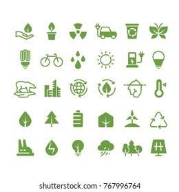 Green ecology vector icons. Clean environment, recycling process and renewable energy pictograms. Green energy, ecology and environment illustration