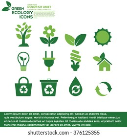 Green ecology.Icons Eco Green information.The City have circular light scattered behind.abstract green background with bright center spotlight with  green paper layout design colorful graphic art