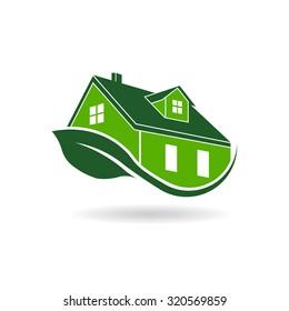 Green efficient house logo, environmental certified