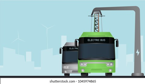 Green electric bus at a stop is charged by pantograph. Gray bus on a background. Vector illustration EPS 10