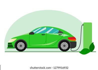 A green electric car charging at the charger station. Electromobility e-motion concept.Flat vector illustration.