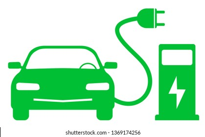 green electric car and charging station symbol
