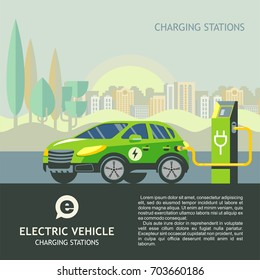 Green electric car at charging station. The background of urban landscape.