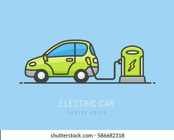 Green electric car charging vector illustration in flat linework style