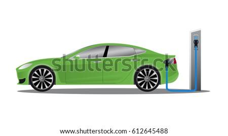 Green electric car near