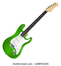 Green electric guitar, classic.Realistic 3D image. Vector detailed illustration isolated on a white background.