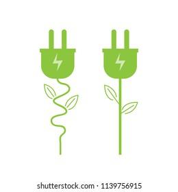 Green electric plug icon. Energy save