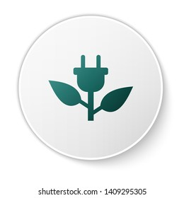 Green Electric saving plug in leaf icon isolated on white background. Save energy electricity icon. Environmental protection icon. Bio energy. White circle button. Vector Illustration