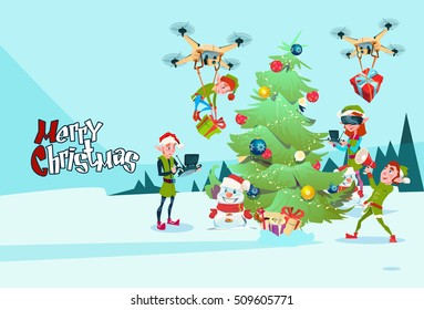 Green Elf Group Decoration Christmas Tree With Drone Wear Virtual Reality Glasses New Year Greeting Card Flat Vector Illustration - Shutterstock ID 509605771