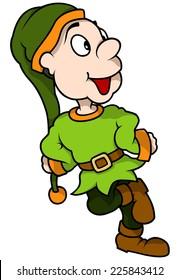Green Elf Smiling - Cartoon Illustration, Vector