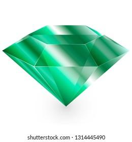 Бриллиант одна линия. Драгоценный камень. Изумруд одна линия.  Green emerald.