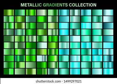 Green, emerald glossy gradient, metal foil texture. Color swatch set. Collection of high quality vector gradients. Shiny metallic background. Design element.