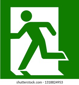 Green emergency exit and fire sign.