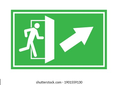 Green emergency exit up right. Fire sign. Danger symbol vector illustration. Protection symbol. Stock image. EPS 10.