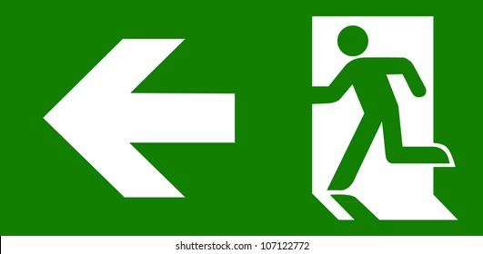 白色的綠色緊急出口標誌