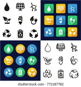 Green Energy All in One Icons Black & White Color Flat Design Freehand Set