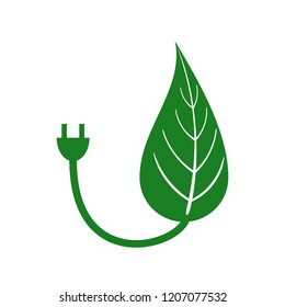 Green energy concept of generic leaf merged with electrical power cord.