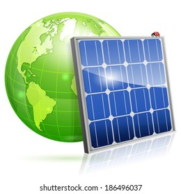 Green Energy Concept with Solar Panel and Earth, vector isolated on white background