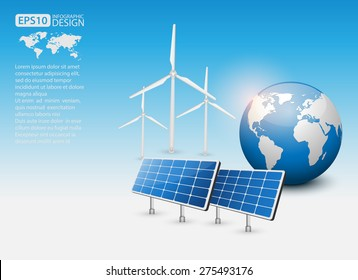 Green Energy Concept with Solar Panel and Earth, vector
