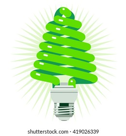 Green Energy concept using a fluorescent light in the shape of a tree.