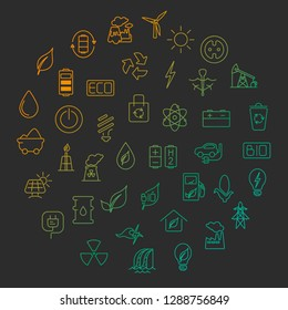 Green energy concept – vector symbols of  energy with place for your text.