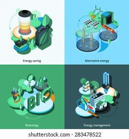 Green energy design concept set with alternative bioenergy management isometric icons isolated vector illustration