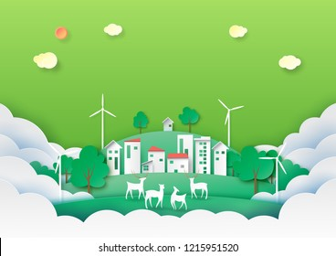 Green energy and eco city of nature landscape with ecology and environment concept paper art style.Vector illustration.