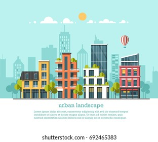Green energy and eco friendly city. Modern architecture, buildings, hi-tech townhouses, green roofs, skyscrapers. Flat vector illustration. 3d style.