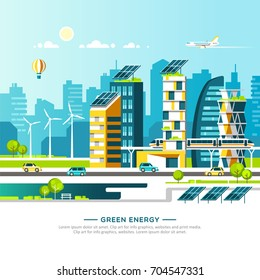 Green energy and eco friendly city. Urban landscape with modern houses and city transport. Vector illustration.