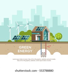 Green energy an eco friendly modern house. Solar, wind, geothermal power. Vector concept illustration.