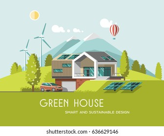 Green energy and eco friendly modern house on mountain landscape background. Solar, wind power. 3d vector illustration.