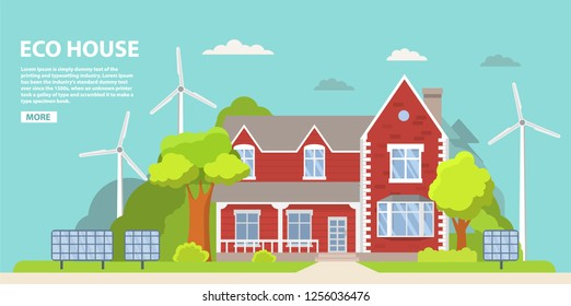 Green energy an eco friendly suburban american house. Solar panel, wind power.Family home.Townhouse building apartment.Home facade.Flat vector.Rural housing village chimney.Alternative energy.