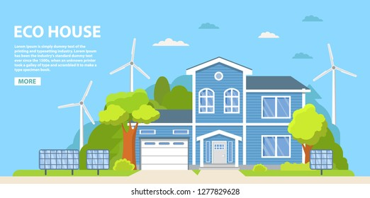 Green energy an eco friendly traditional suburban american house. Solar, wind power.Family home.Townhouse building apartment.Home facade.Flat vector.Rural housing village chimney.Green house.