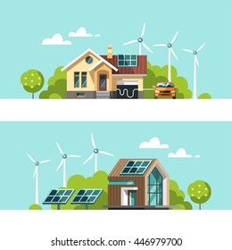Green energy an eco friendly traditional and modern house. Solar, wind power. Vector concept illustration.