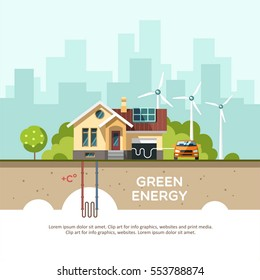Green energy an eco friendly traditional house. Solar, wind, geothermal power. Vector concept illustration.