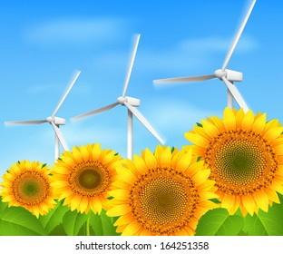 Green energy eco wind background with sunflowers and grass vector illustration