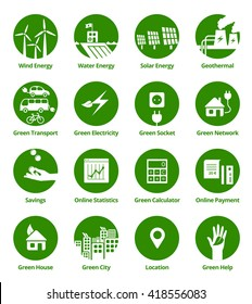 Green energy & ecology icons in green circles.