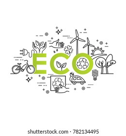 Green energy, ecology lifestyle, recycle. Vector design template in linear style for your design