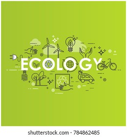 Green energy, ecology lifestyle, recycle. Icons. Vector design template in linear style for your design