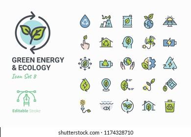 Green Energy & Ecology vector icon set