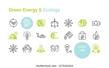 Green Energy & Ecology vector icon set