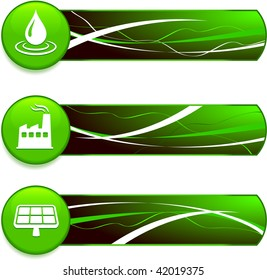 green energy environmental banners with internet buttons