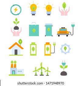 Green energy flat icons set.