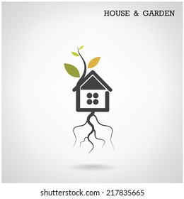 Green energy home concept ,house and garden symbol. Vector illustration