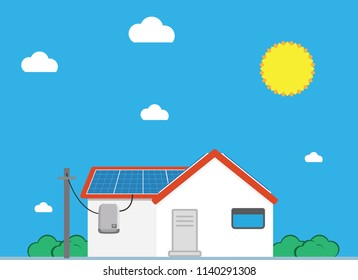 Green energy house with solar panel in flat design - Solar Energy Concept Image.