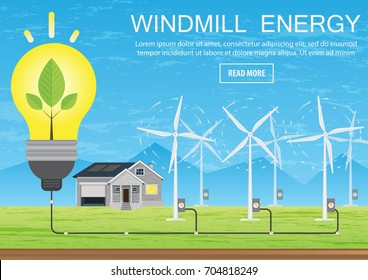 Green energy, a house that feeds energy from windmills. Wind power generates energy for an environmentally friendly life, Vector illustration of flat